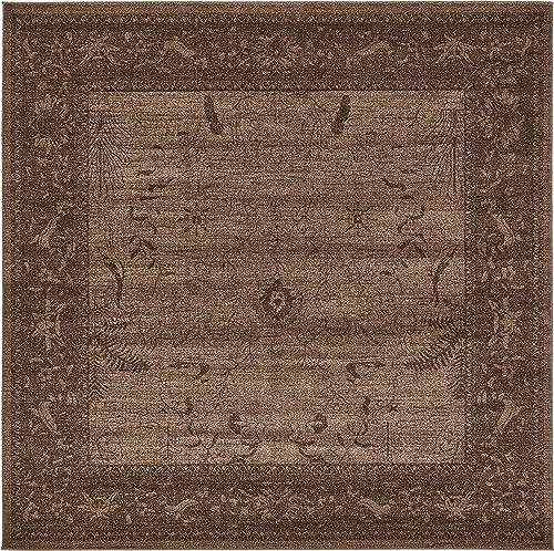 Unique Loom La Jolla Collection Tone-on-Tone Traditional Brown Square Rug 8 0 x 8 0