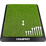 Champkey Premium Synthetic Turf Golf Hitting Mat | Heavy Duty Rubber Base Golf Practice Mat | Come with 1 Rubber Tee and 9 Pl