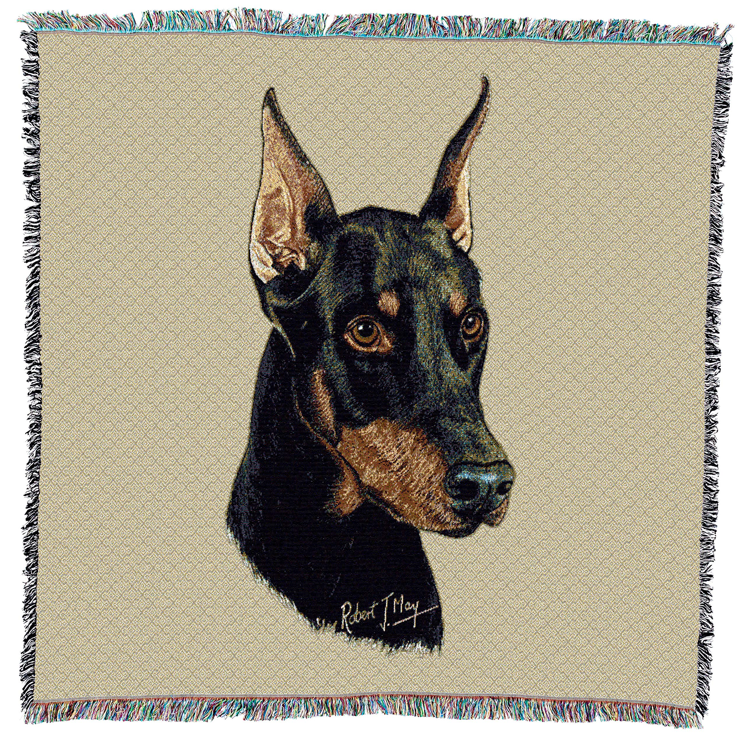 Pure Country Weavers - Doberman Pinscher Woven Throw Blanket with Fringe Cotton. USA Size 54x54
