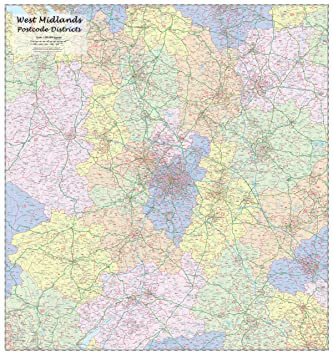 Map Of Uk Midlands.West Midlands Postcode Districts Wall Map