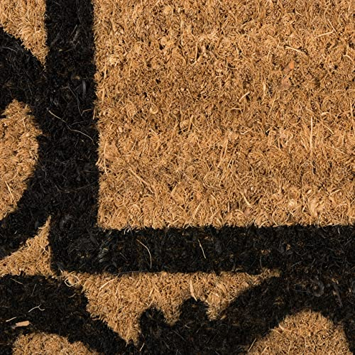 Natural Coir Coco Fiber Non-Slip Outdoor Indoor Doormat, 21×41 , Heavy Duty Entry Way Shoes Scraper Patio Rug Dirt Debris Mud Trapper Waterproof-Welcome