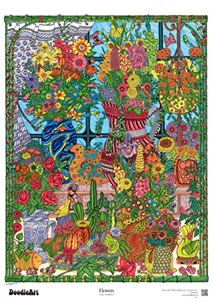Buy The Original DoodleArt Flowers Coloring Poster Online at Low ...