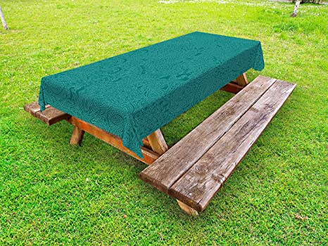 Amazoncom Lunarable Teal Outdoor Tablecloth Abstract Huge Flowers - Huge picnic table