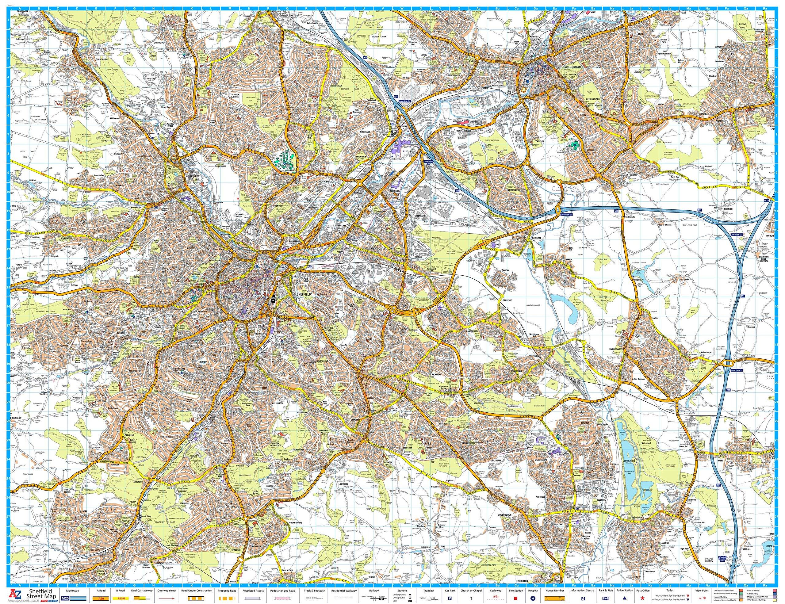 A-Z Sheffield Street Map - Encapsulated: Amazon.de ...