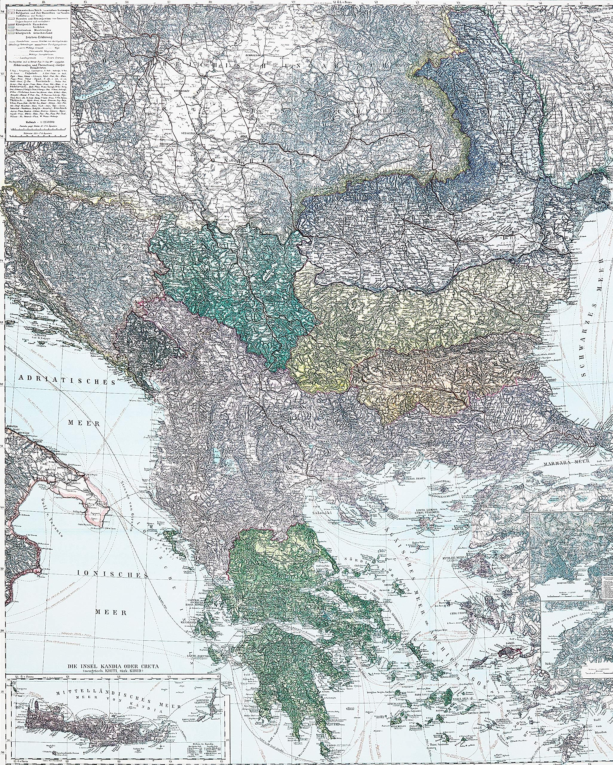 Historische Karte Die Balkan Halbinsel Um 1910 Gerollt Carl