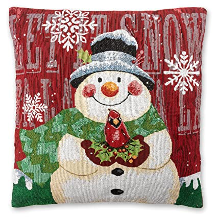 christmas throw pillow covers set of 2 18 x 18 snowman pillow cases - Christmas Decorative Pillow Covers