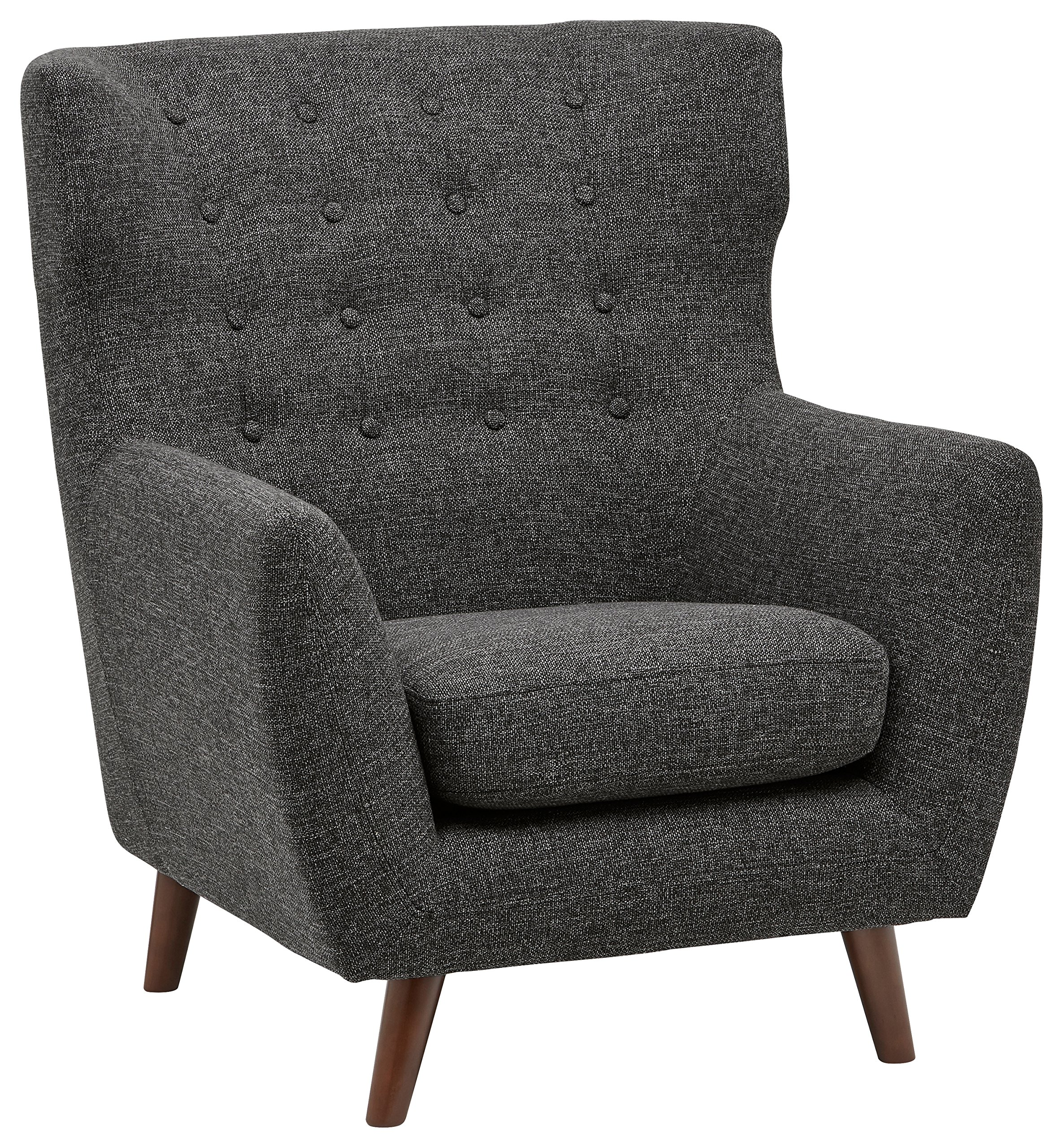 Rivet Hawthorne Mid-Century Tufted Modern Accent Chair, 35''W, Caviar by Rivet