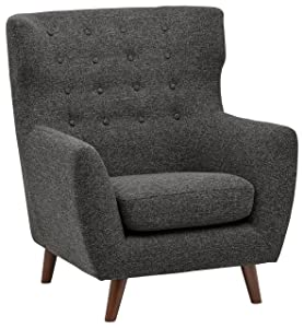 "Rivet Hawthorne Mid-Century Tufted Modern Accent Chair, 35""W, Caviar"
