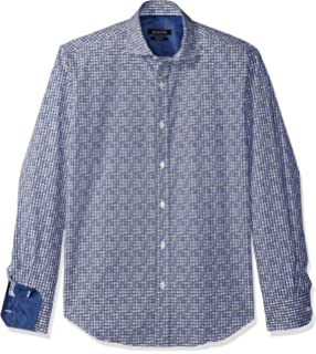 Bugatchi Mens Large Windowpanes Check Trim Fit Long Sleeve Woven Shirt