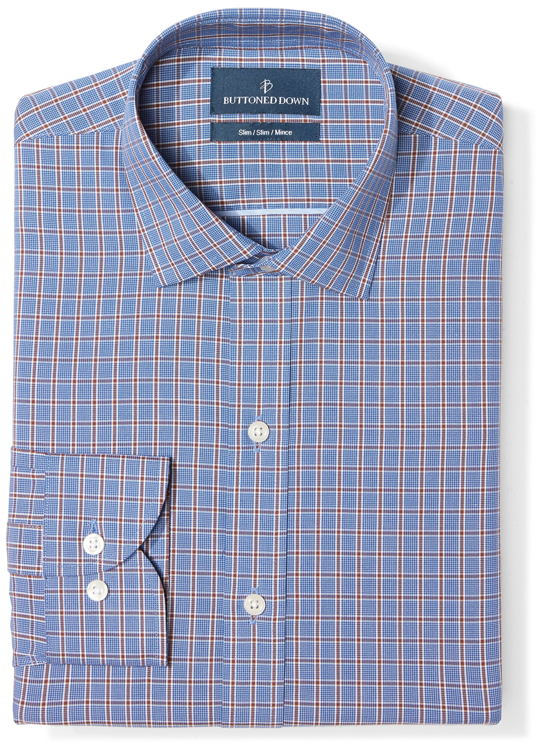 Buttoned Down Men's Slim Fit Spread Collar Pattern, Navy/Brown Plaid, 16'' Neck 35'' Sleeve