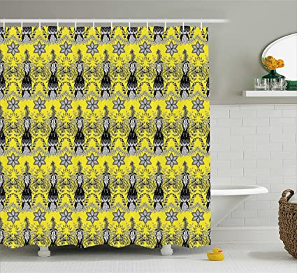 Ambesonne Grey And Yellow Shower Curtain Ethnic Orietal Paisley Floral Design Ivy Swilrs Image