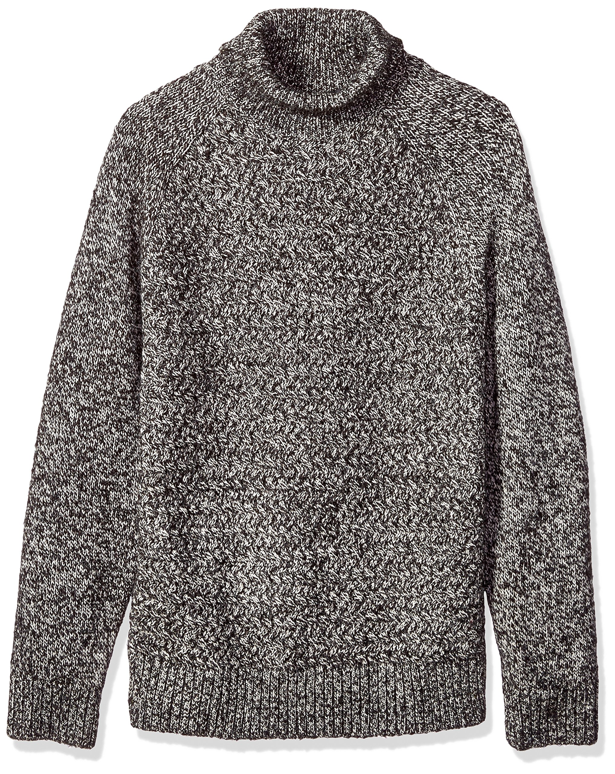 French Connection Men's Twisted Cable Turtleneck Sweater, Black, XL