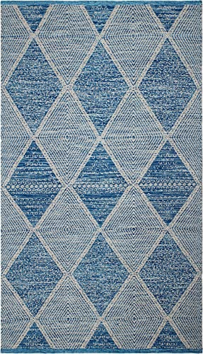 Fab Habitat Reversible PET Rugs – Handwoven Indoor or Outdoor Use Stain Resistant, Easy to Clean Weather Resistant Hampton – Blue, 8 x 10