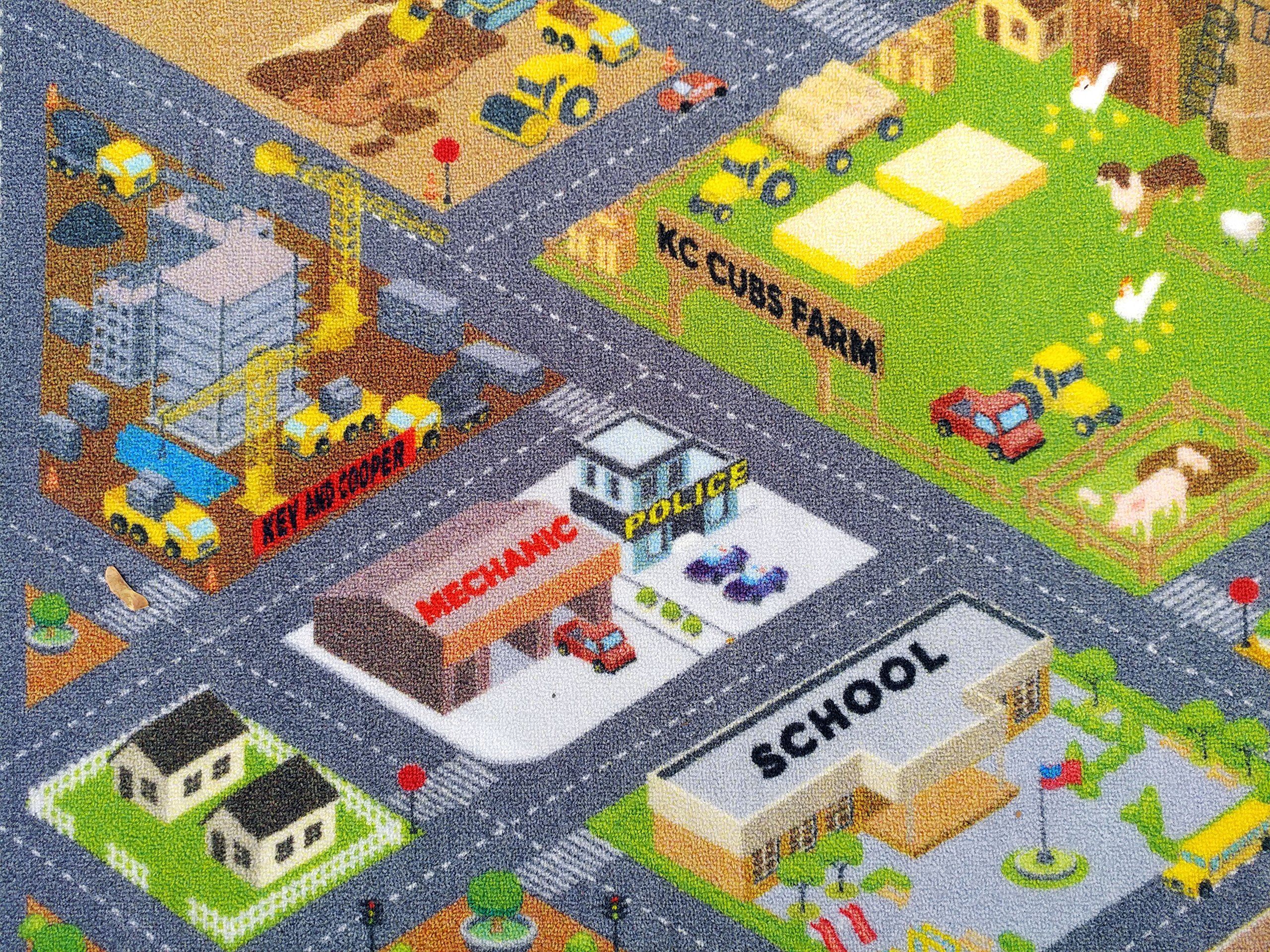 KC Cubs Playtime Collection Country Farm Road Map with Construction Site Educational Learning Area Rug Carpet for Kids and Children Bedroom and Playroom (3' 3'' x 4' 7'') by Kev & Cooper (Image #2)