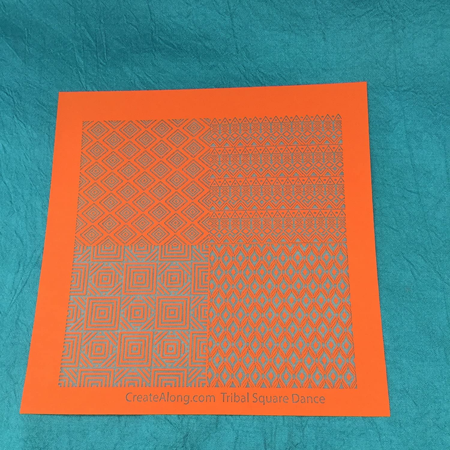 Silkscreen Stencil Tribal Squaredance Multi Image for Polymer Clay and Mixed Media