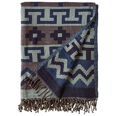 Stone & Beam Lightweight Cotton Southwest-Inspired Decorative Throw Blanket, 50  x 70 , Blue
