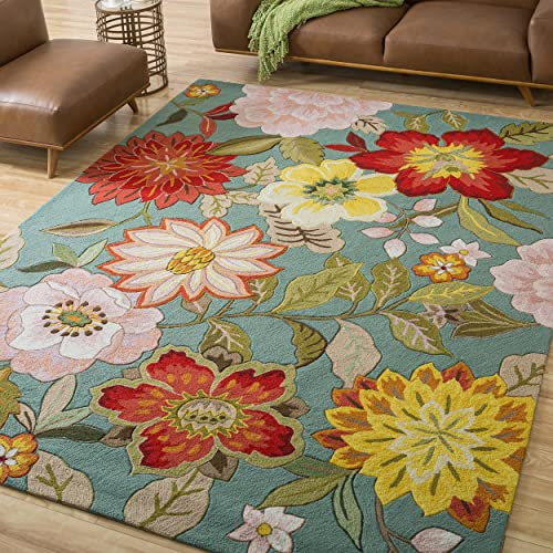 5 x 7 6 Hand Hooked Tropical Floral Paradise Patterned Area Rug, Featuring Bold Vibrant Flowers Themed, Rectangle Indoor Bedroom Living Area Bedroom Hallway Carpet, Nature Lovers Design, Aqua, Green