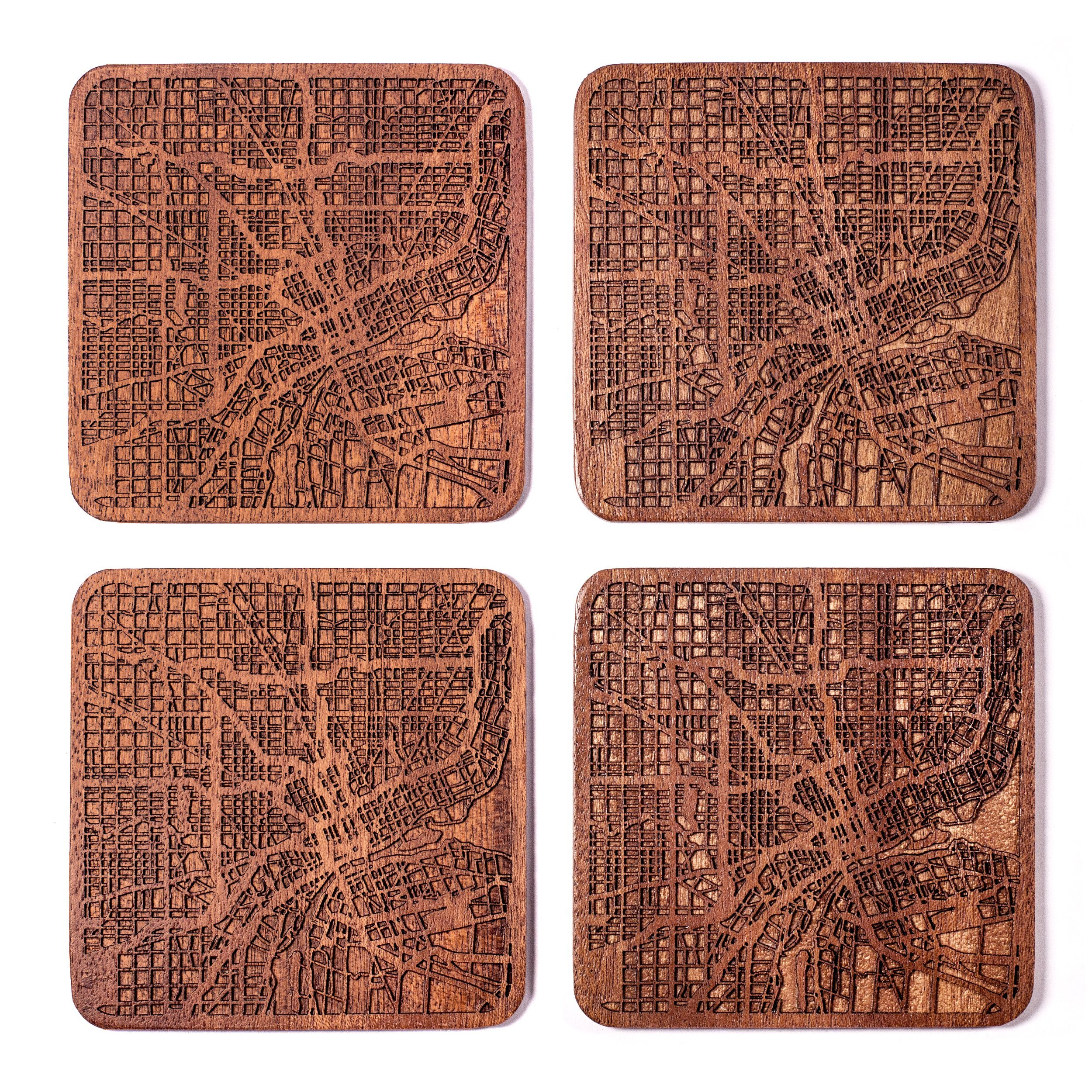Detroit Map Coaster by O3 Design Studio, Set Of 4, Sapele Wooden Coaster With City Map, Handmade