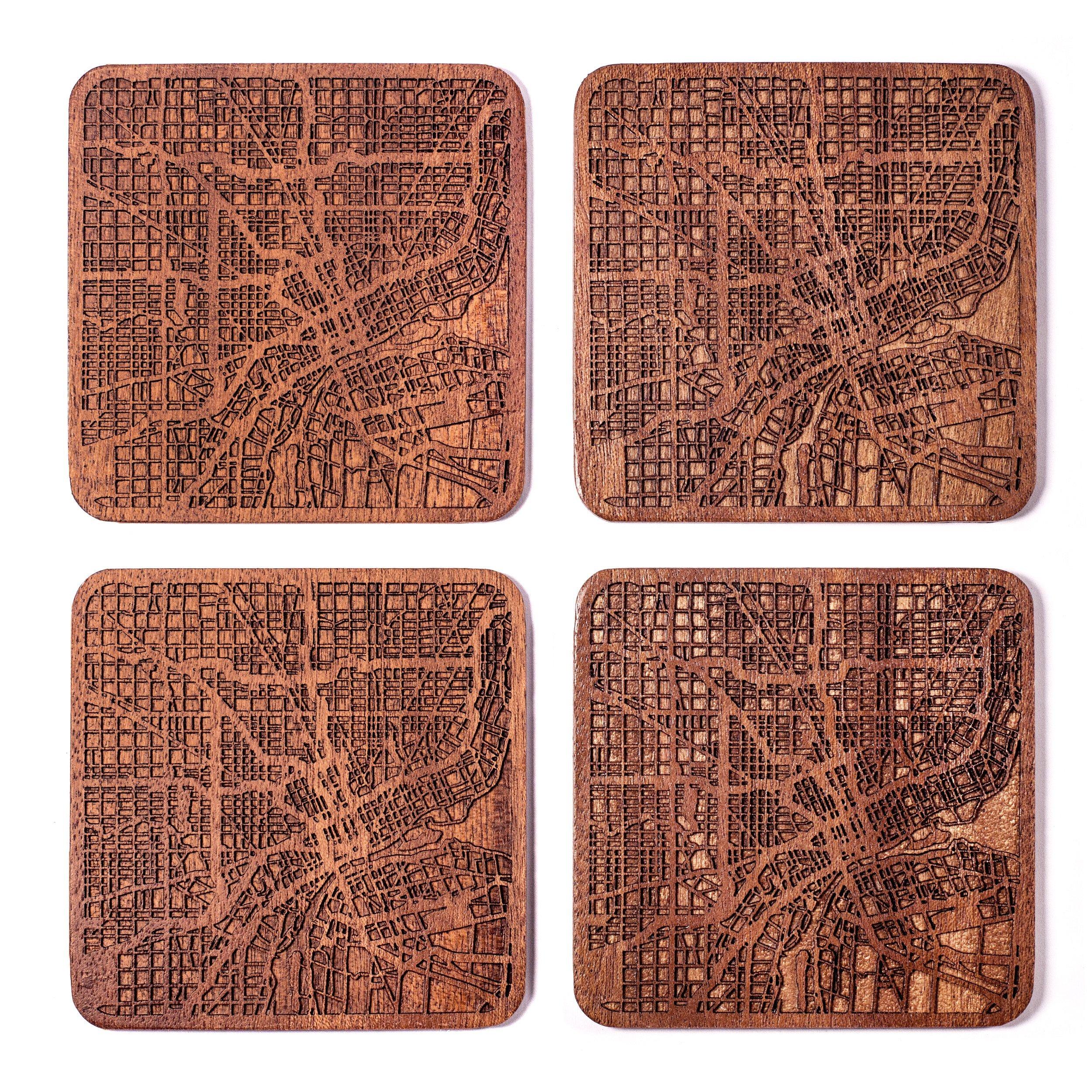 Detroit Map Coaster by O3 Design Studio, Set Of