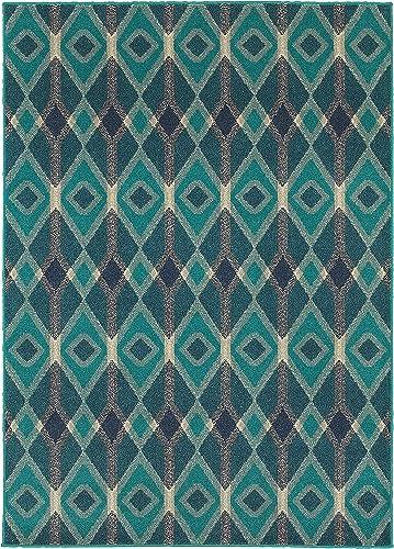 Oriental Weavers Highlands 6 7 x 9 6 Machine Woven Rug in Blue