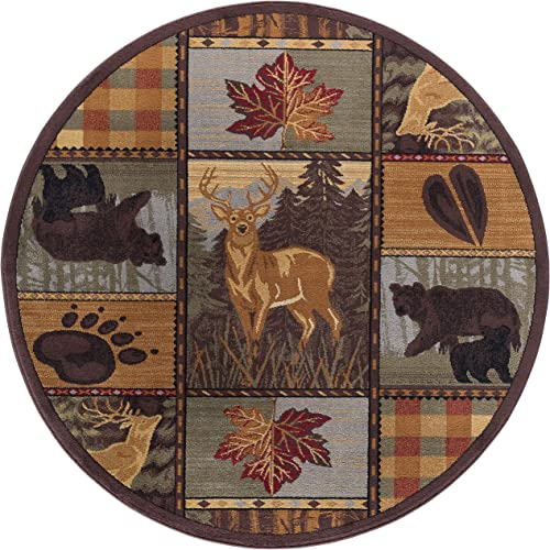 Colorblock Wildlife Novelty Lodge Pattern Multi-Color Round Area Rug, 5 Round
