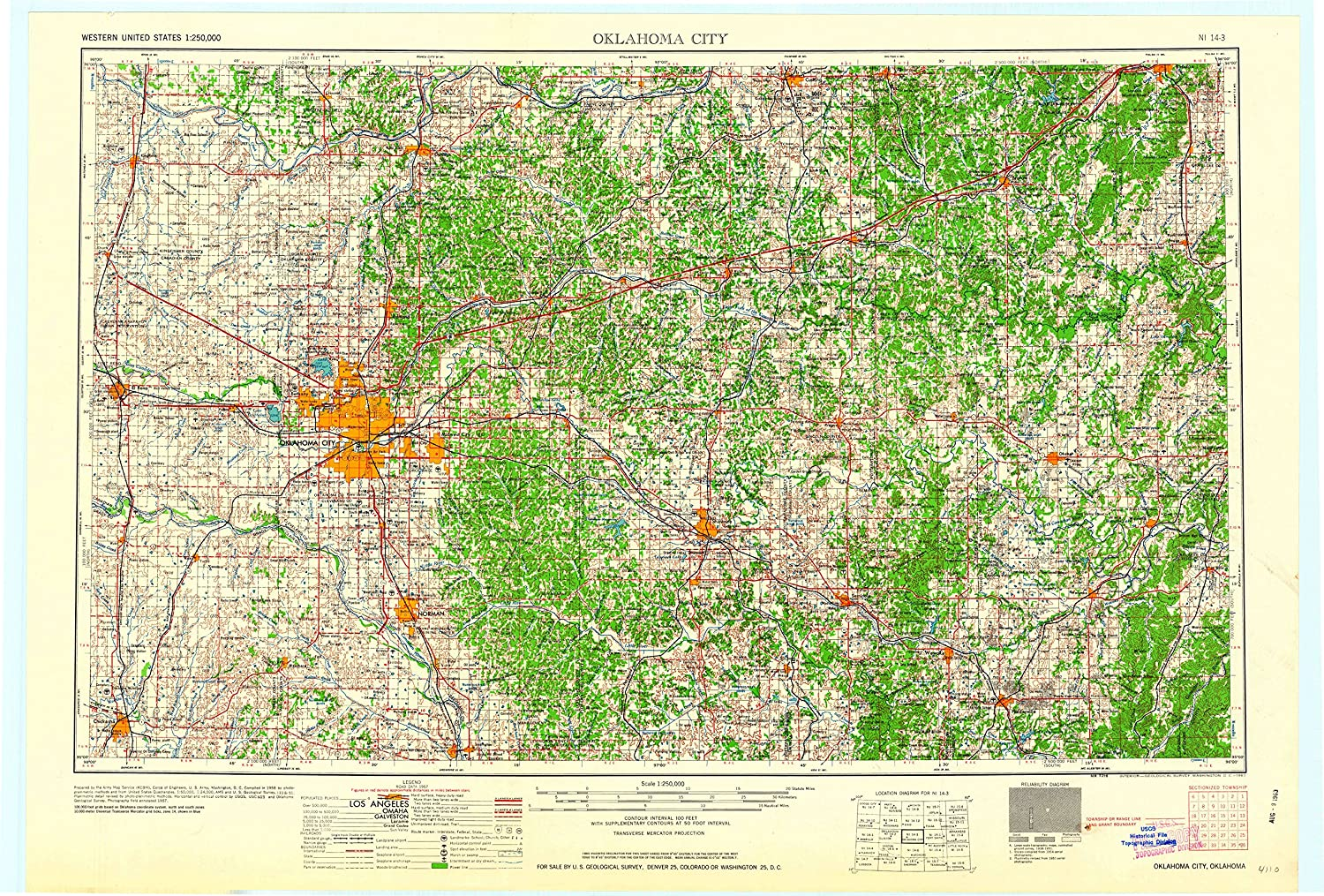 Amazon.com : YellowMaps Oklahoma City OK topo map, 1:250000 Scale, 1 ...