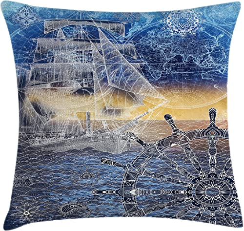 Ambesonne Mandala Throw Pillow Cushion Cover, Nautical Print with Mandala Patterns Explorer Ship Map of The World Steering Wheel Sails, Decorative Square Accent Pillow Case, 24 X 24 , Blue Yellow