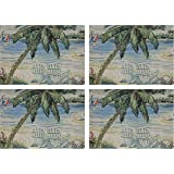 "Manual Beach Chairs By Bradley Clark Tapestry Placemats TCBCHP 18x13"" Set of 4"