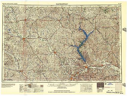 Map Of Manhattan Kansas.Amazon Com Yellowmaps Manhattan Ks Topo Map 1 250000 Scale 1 X 2
