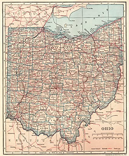 Amazon.com: 1926 Antique Ohio State Map Original Vintage Map ... on ohio tennessee map, ohio south map, pennsylvania bordering canada map, ohio union map, ohio civil war map, ohio underground railroad map, ohio ohio map, ohio bordering states,