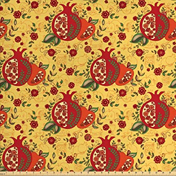 ambesonne oriental fabric by the yard middle east religious pattern happy new year in hebrew
