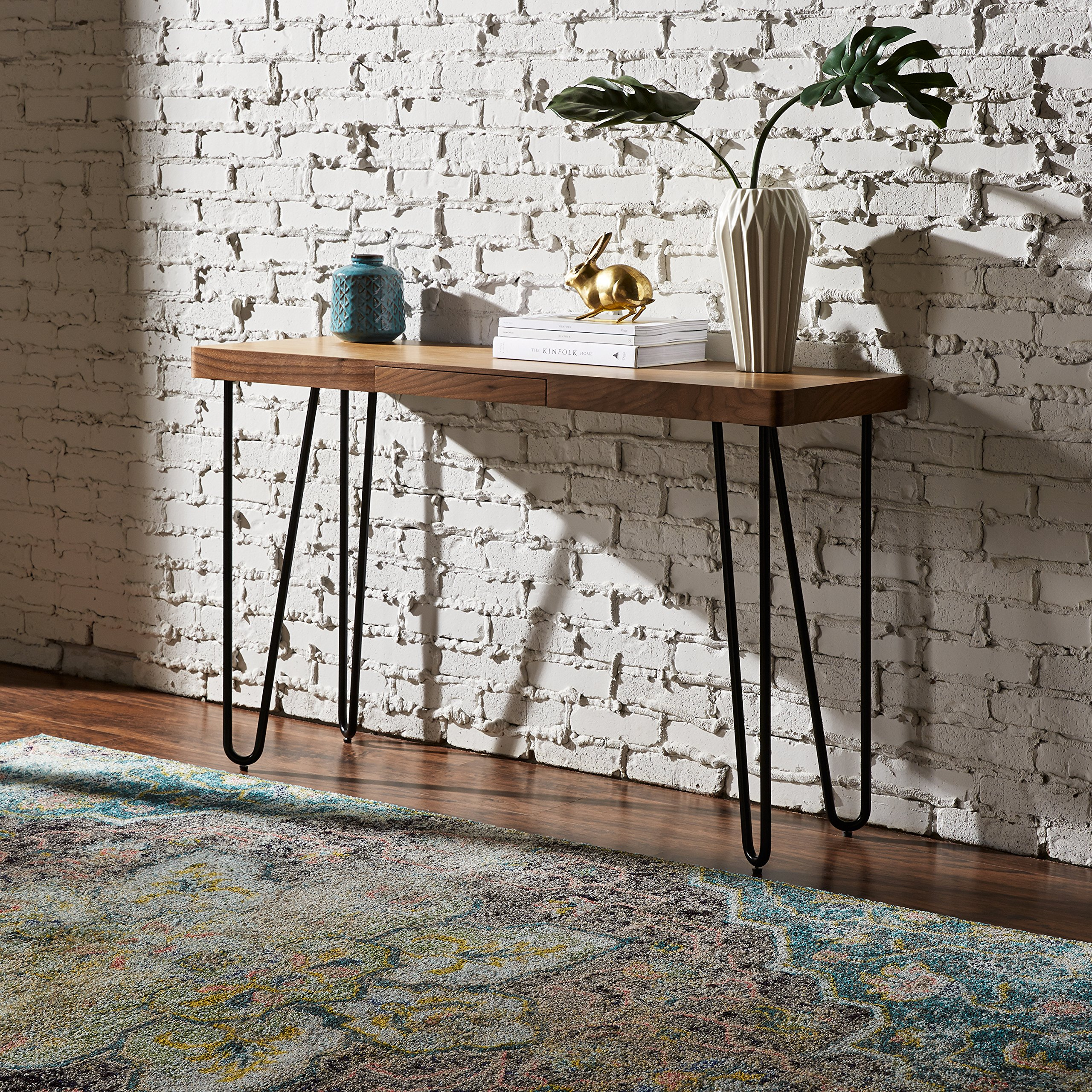 Rivet Hairpin Wood and Metal Tall 29.5'' Console Table, Walnut and Black by Rivet (Image #6)
