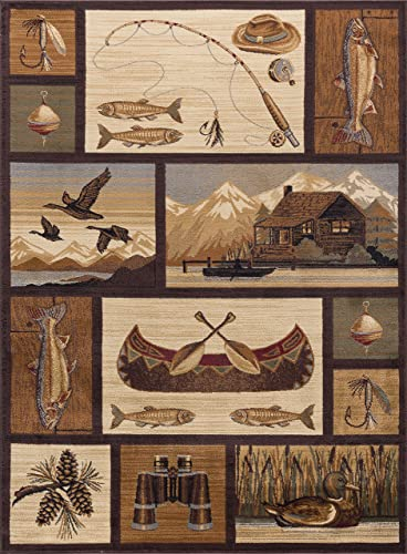Cabin Getaway Novelty Lodge Pattern Brown Rectangle Area Rug, 8 x 10