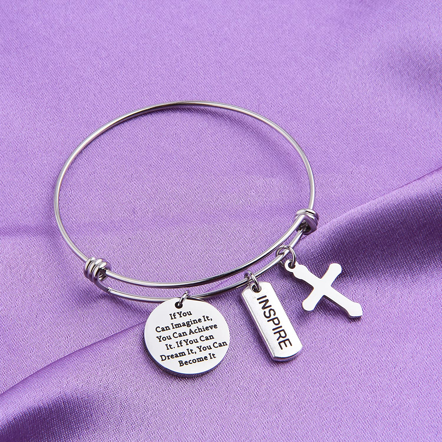 MAOFAED Graduation Gift If You can Imagine it You can Achieve it Inspirational Graduation Jewelry Gift for Her