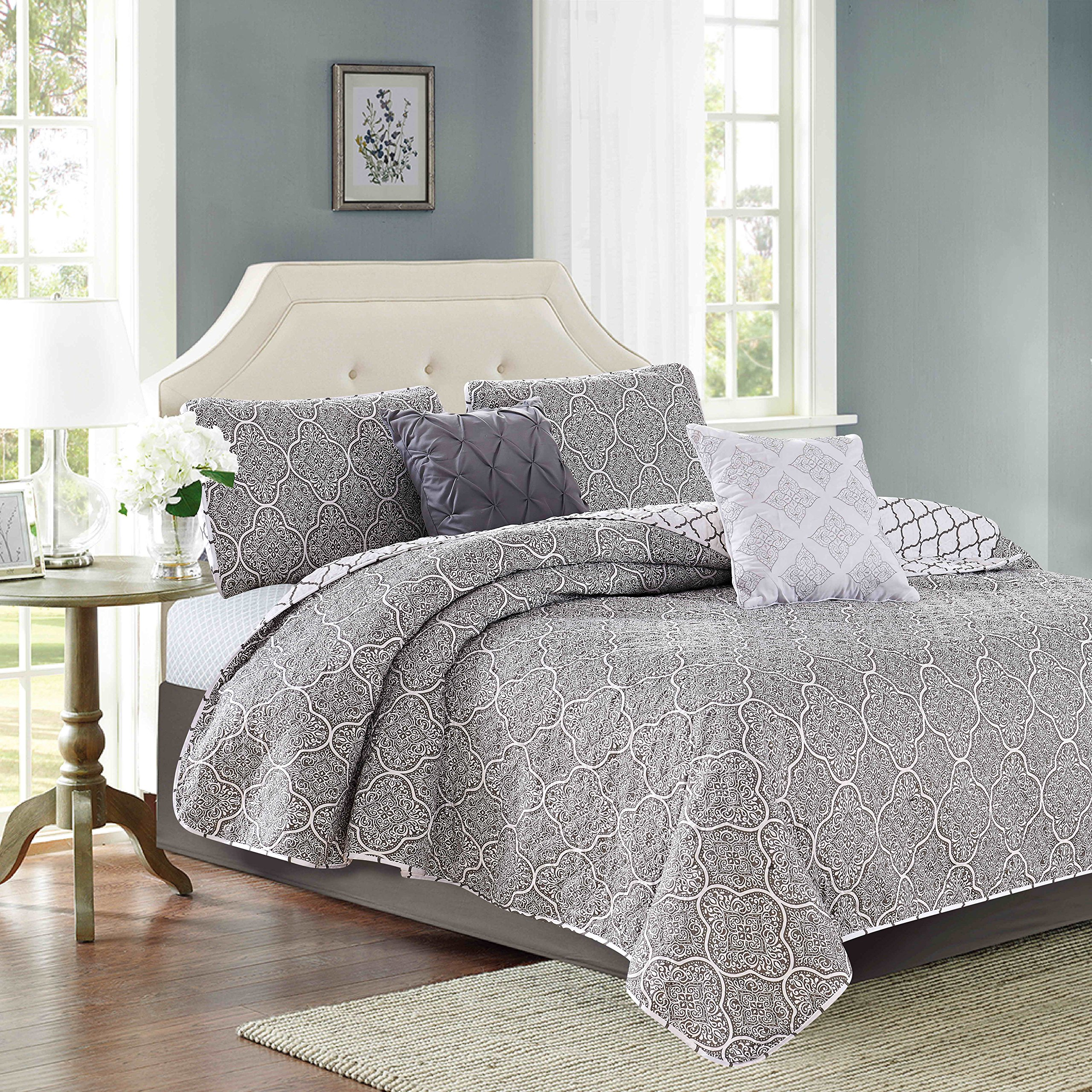 Sweet Home Collection Decorative Fashion Quilt Set Includes Shams and More, Queen, Gray, 5 Piece