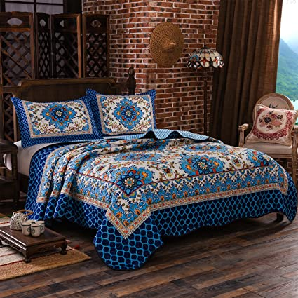 Amazon Com Lamejor Quilt Set Queen Size Bohemian Floral Print 3