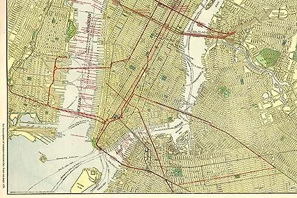 Amazon.com: Original Manhattan Map 1914 Antique Map of New York City on