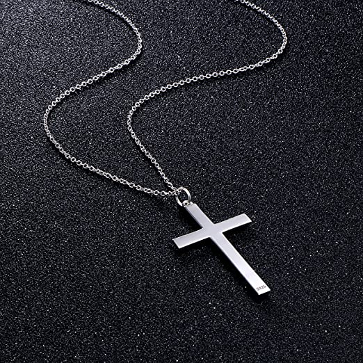 925 Sterling Silver 74 mm Blue Holy Blessing Cross Pendant With Free Chain Anniversary Gift