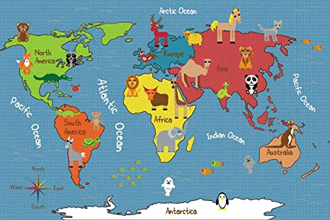 Amazon ecr4kids animals of the world educational activity rug ecr4kids animals of the world educational activity rug rectangle 6 x 9 feet gumiabroncs Image collections