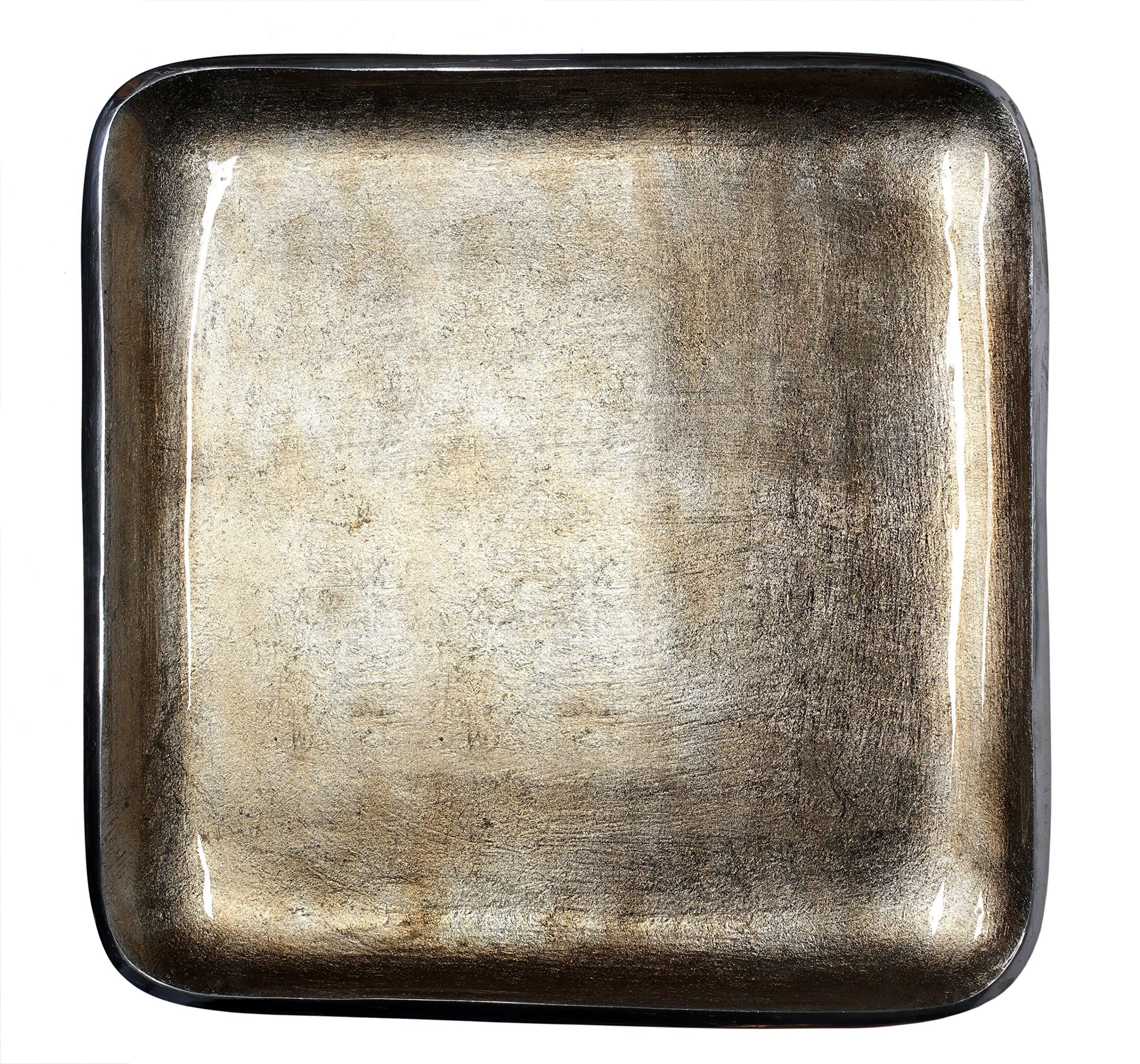 Melange Home Decor Square Tray Platter 12.25-inch Bowl, Color - Beige, Pack of 4