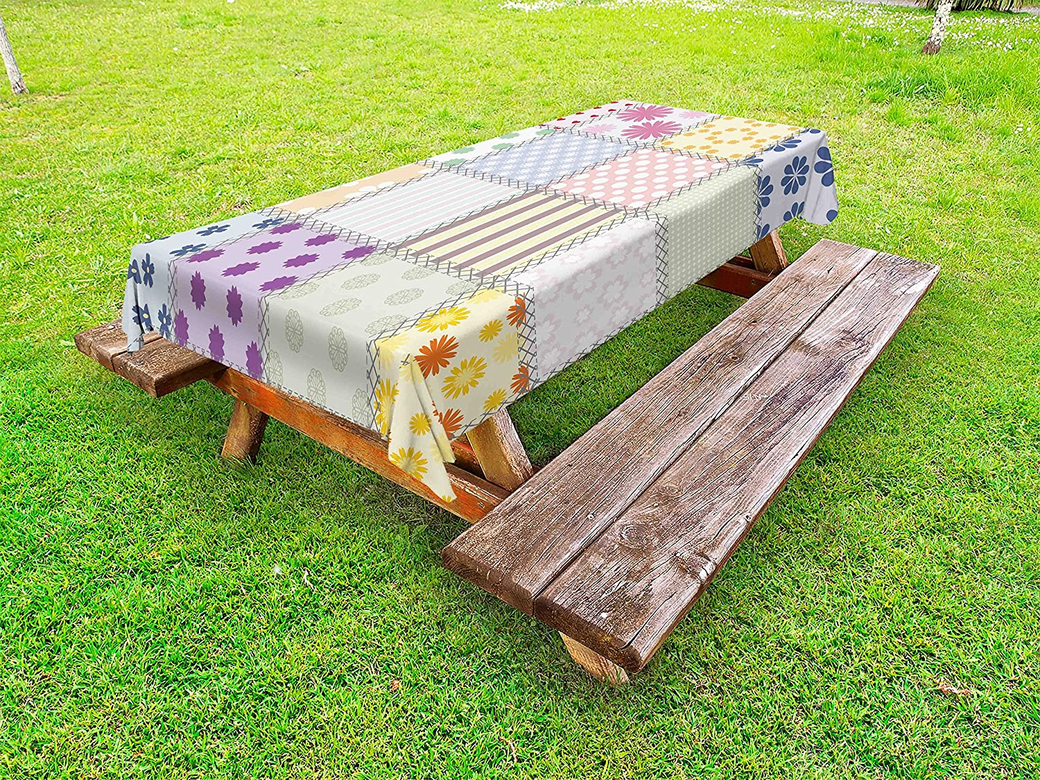 Amazon Com Lunarable Cabin Outdoor Tablecloth Patchwork Style