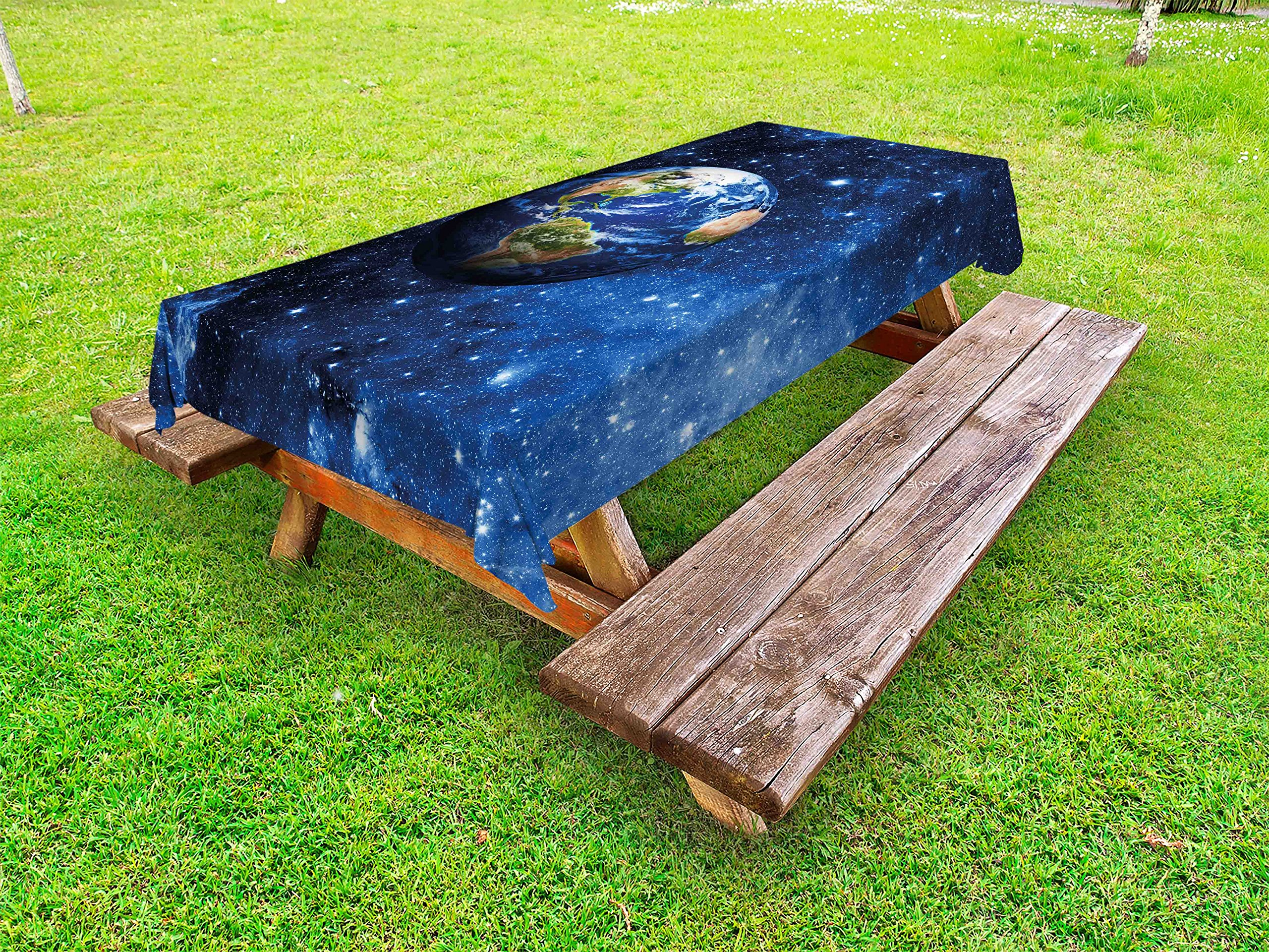Ambesonne Space Outdoor Tablecloth, Outer View of Planet Earth in Solar System with Stars Life on Globe Themed Image, Decorative Washable Picnic Table Cloth, 58 X 104 inches, Blue Green