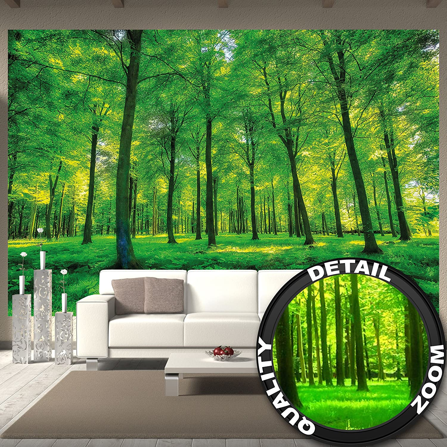 Wallpaper Trees wall picture decoration nature pure landscape forest glade summer relaxation sun plants flora forest ferns paperhanging Wallpaper poster wall decor by GREAT ART 132.3 Inch x 93.7 Inch