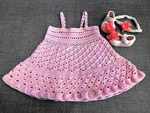 Custom Design Handmade Crochet Pink Mary Jane Baby Booties