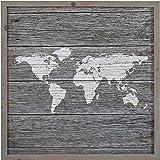 "Amazon Brand – Stone & Beam Global Map Gray Wood Framed Print Wall Art, 14"" x 14"""