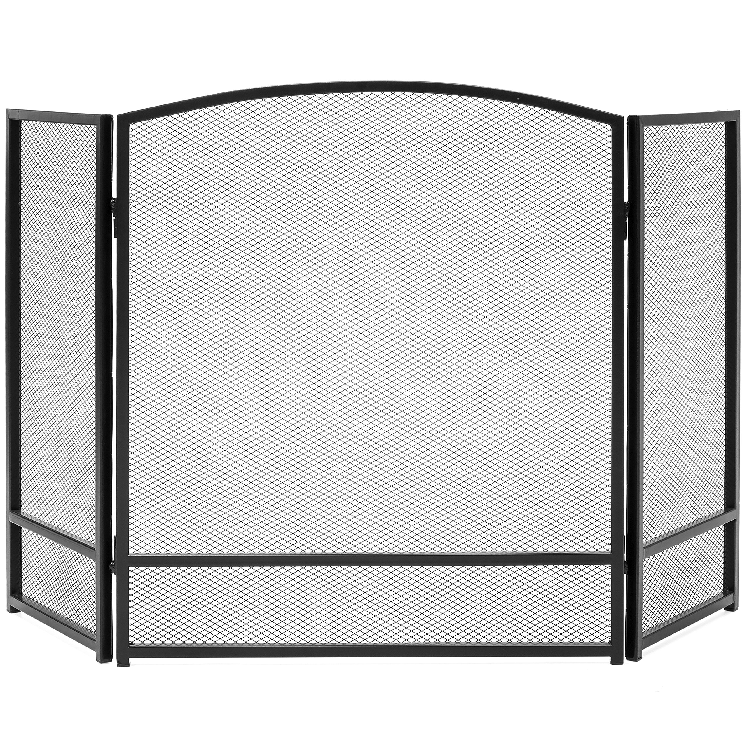 Best Choice Products 3-Panel Living Room Steel Mesh Simple Design Fireplace Screen Home Decor with Rustic Worn Finish, Black by Best Choice Products