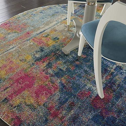 Nourison Celestial Colorful Modern Blue Multicolor Area Rug 7'10″XROUND