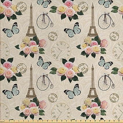 Amazon Com Ambesonne Eiffel Tower Fabric By The Yard French Shabby