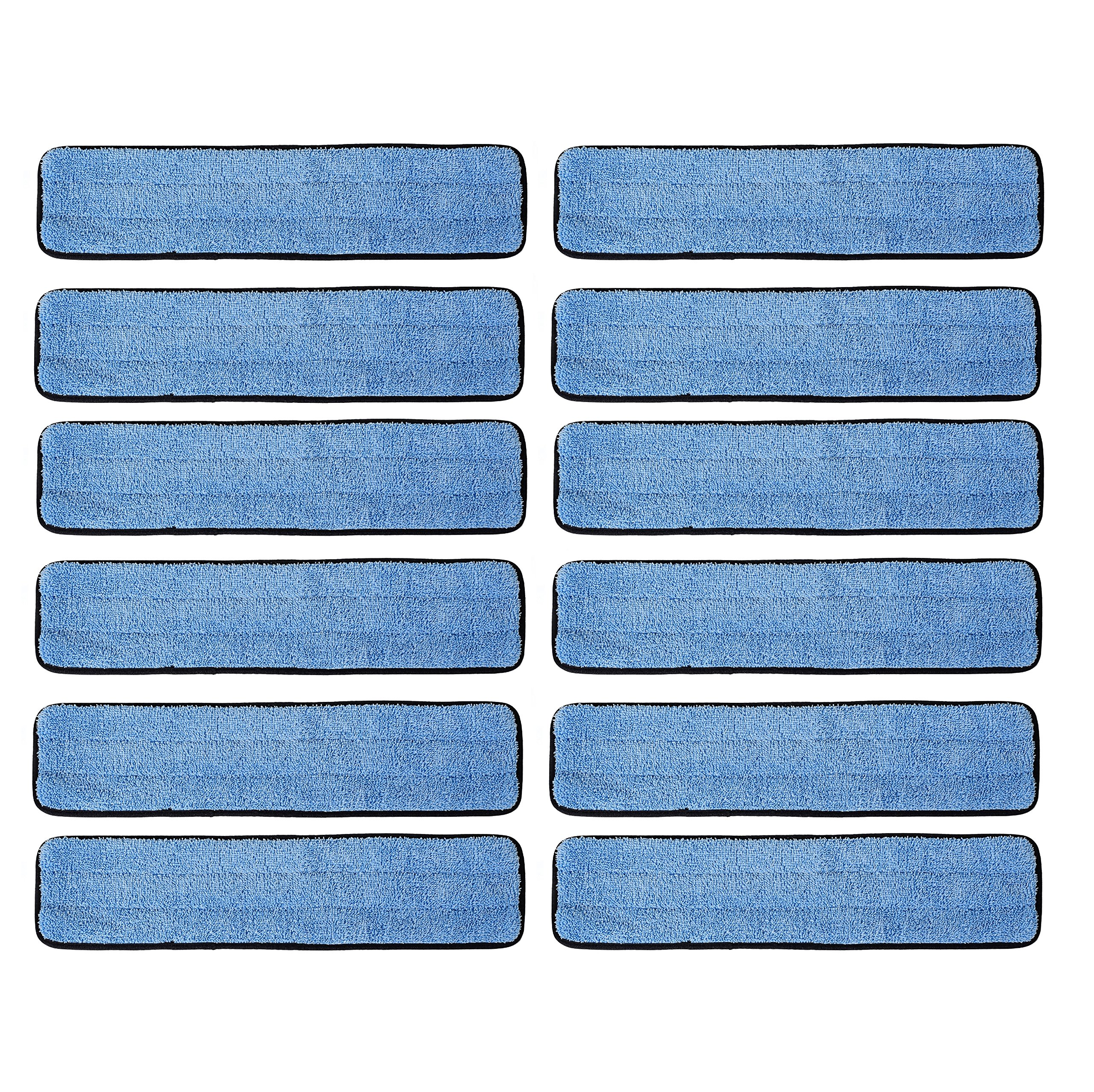 Real Clean 18 inch Microfiber Wet Mop Refill Pads for Flat Microfiber Mop Frames (Pack of 12) by Real Clean