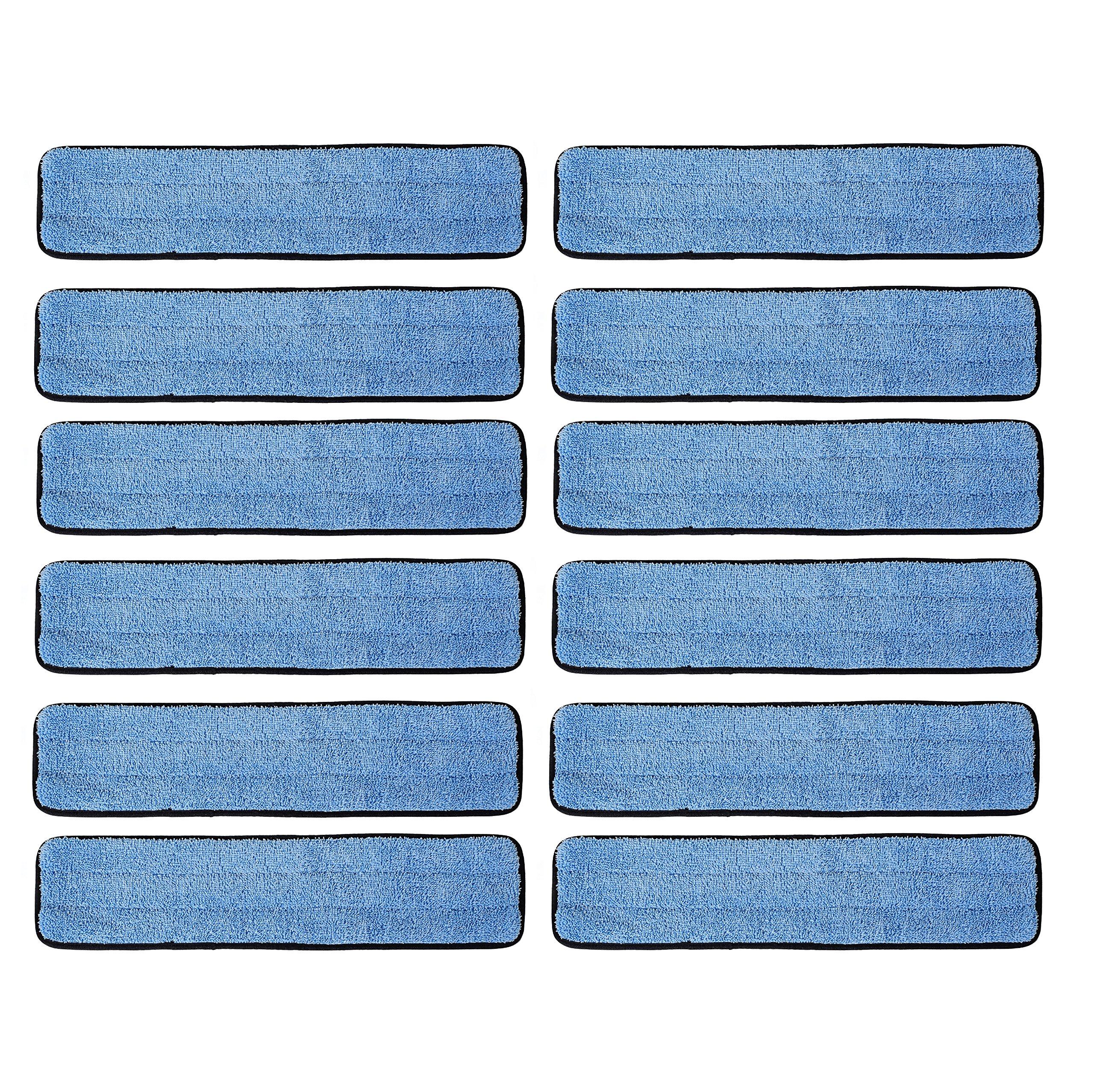 12 Pack 18'' Microfiber Wet Mop Refill Pads for Flat Microfiber Mop Frames